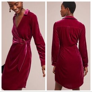 NEW Anthropologie Maeve Velvet Wrap Shirtdress 8